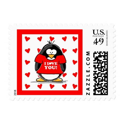 I Love You Penguin Stamp