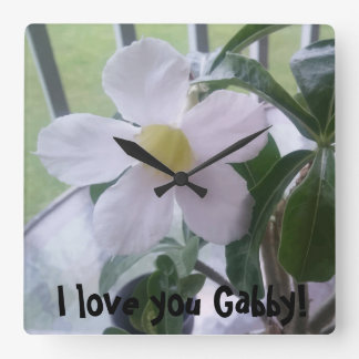 I love you Personalized Cute White Flower Square Wall Clock