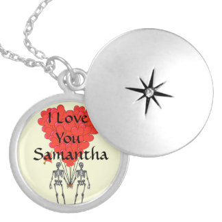 I love you personalized round locket necklace