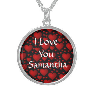 I love you personalized valentines day round pendant necklace