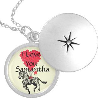 I love you personalized zebra round locket necklace