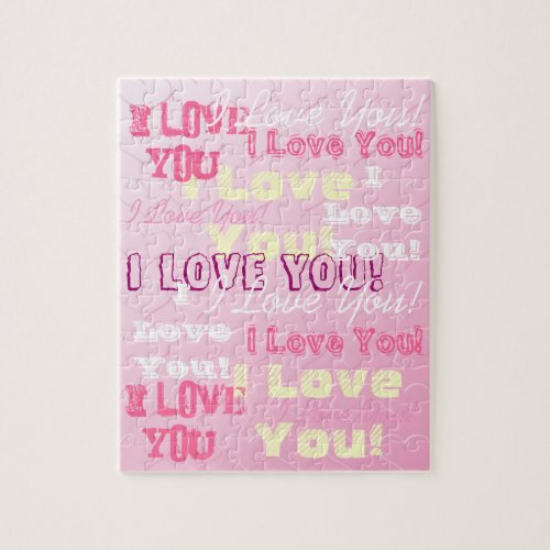I Love You Pink Bas Relief Hearts Puzzle