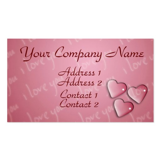 I Love You Pink Business Cards