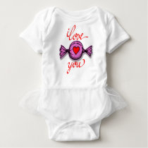 I Love you (pink candy) Baby Bodysuit