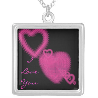 I love you pink heart sterling silver necklace