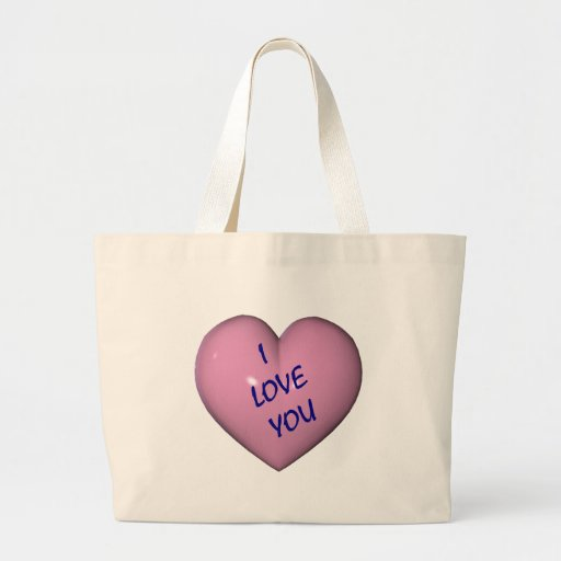 I Love You Pink Heart Tote Bag