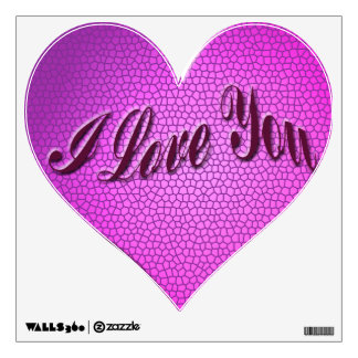 I love You pink Heart Wall Decal