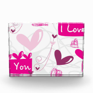 I Love You Pink Hearts Design Acrylic Award
