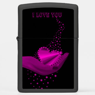 I love You , Pink Rainbow Heart with Stars Zippo Lighter