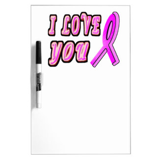 I Love You Pink Ribbon Dry-Erase Board