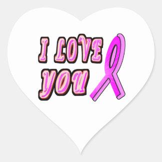 I Love You Pink Ribbon Heart Sticker