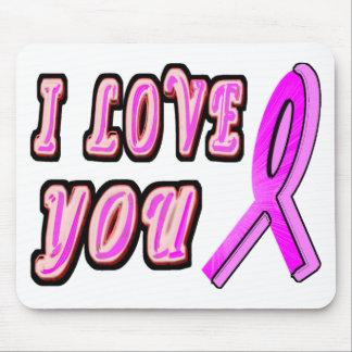 I Love You Pink Ribbon Mouse Pad