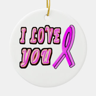 I Love You Pink Ribbon Double-Sided Ceramic Round Christmas Ornament
