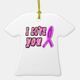 I Love You Pink Ribbon Double-Sided T-Shirt Ceramic Christmas Ornament