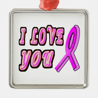 I Love You Pink Ribbon Square Metal Christmas Ornament