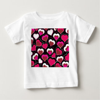 I Love You Pink & White Hearts Baby T-Shirt
