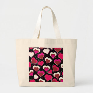 I Love You Pink & White Hearts Canvas Bag
