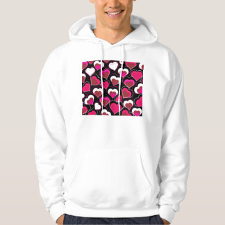 I Love You Pink & White Hearts Hoodie