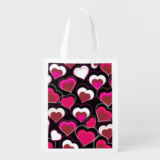 I Love You Pink & White Hearts Reusable Grocery Bags