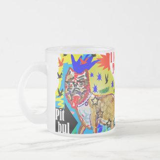 I love you pit bul frosted glass coffee mug