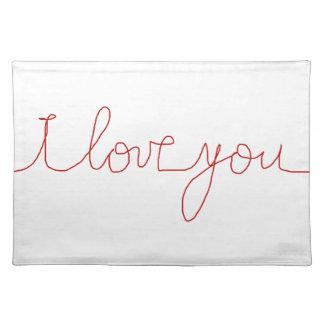 I love you cloth place mat