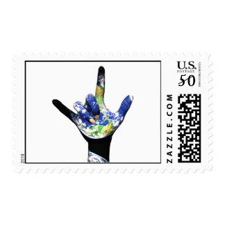 I Love You Planet Earth Stamp