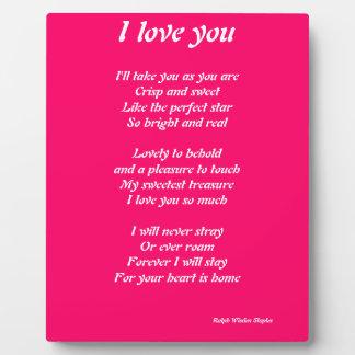 I love you poem plauque plaques