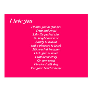 I love you poem postacards postcard