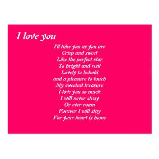 I love you poem postacards postcard