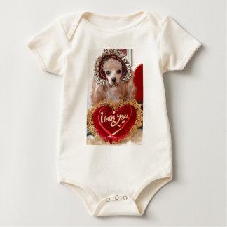 I Love You Poodle Dog Baby Bodysuit
