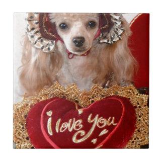 I Love You Poodle Dog Ceramic Tile