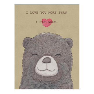 I love you postcard Cute Bear Love Heart Postcard