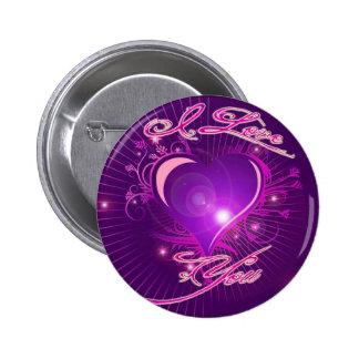 *I love you* Pretty Heart Ventine Design Pinback Buttons