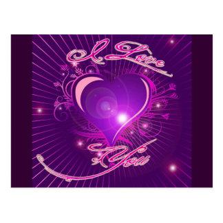 *I love you* Pretty Heart Ventine Design Postcard