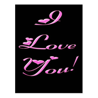 *I Love You* Pretty Hearts Postcard