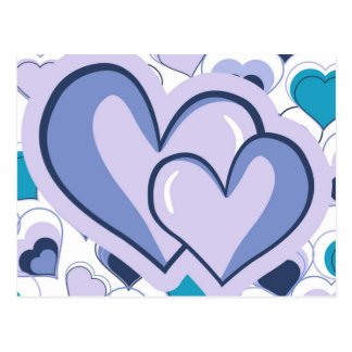 I Love You Purple & Blue Hearts Postcard