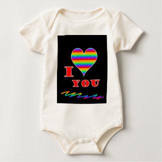 I love you rainbow design baby bodysuit