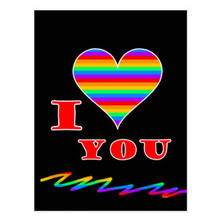 I love you rainbow design postcard