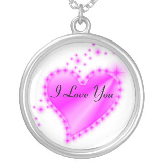 I Love You Rainbow Heart with Stars Silver Plated Necklace