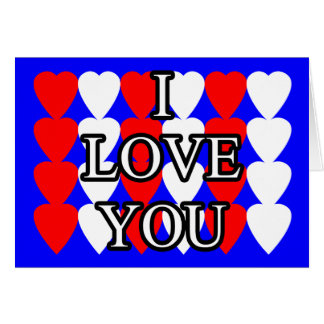 I Love You Red and White Heart Card