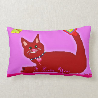 I love you Red Cat mojo throw pillow