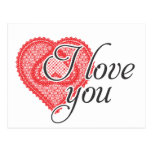 I love you - red doodle and lace heart - postcard