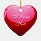 I Love You Red Heart Ceramic Ornament