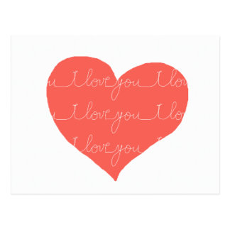 I love you . red heart postcard