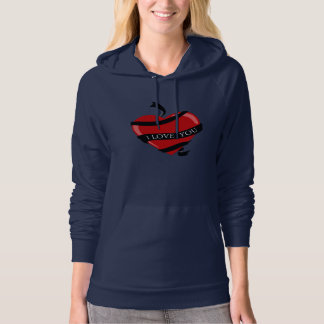 I Love You Red Heart Womens Hoodie