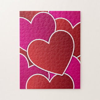 I Love You Red & Pink Hearts Pattern Puzzles