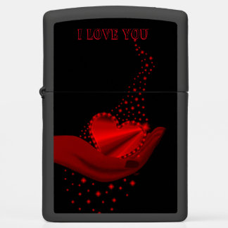 I love You , Red Rainbow Heart with Stars Zippo Lighter