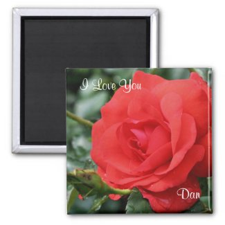 I Love You Red Rose Customizable Flower Magnet magnet