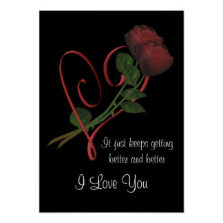 I Love You Red Roses Heart Flower Poster