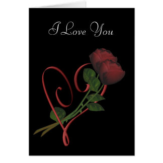 I Love You Red Roses Heart Personalized Card
